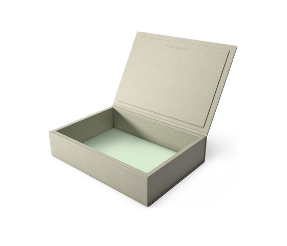 Bookbox dusty grey and turquoise leather large by August Sandgren A/S | Storage boxes