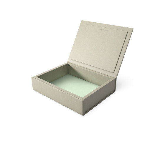 Bookbox dusty grey and turquoise leather medium by August Sandgren A/S | Storage boxes
