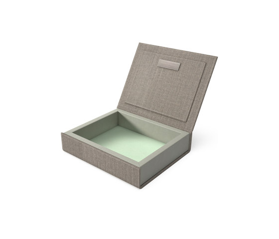 Bookbox wet sand and turquoise textile small by August Sandgren A/S   Storage boxes