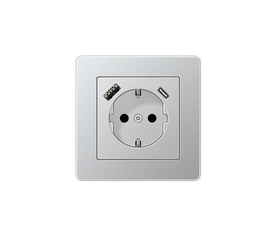 A flow | USB-A/C SCHUKO-Socket A flow Aluminium by JUNG | Schuko sockets
