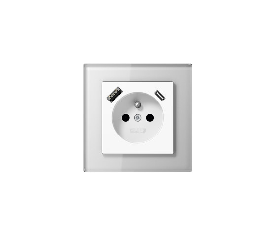 A Creation | USB-A/C Socket in french /belgian System in white with glass frame by JUNG | Belgian sockets