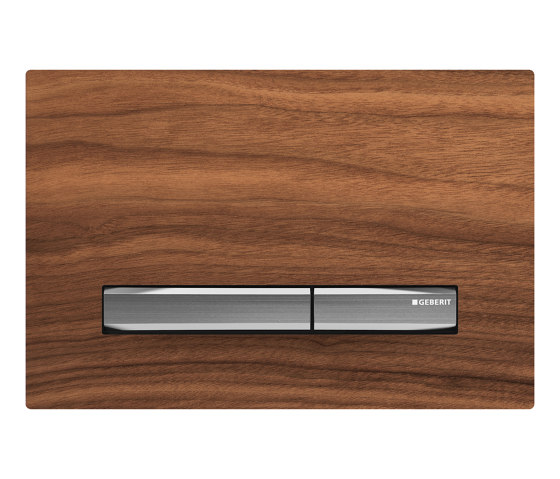 Actuator plates | Sigma50 black walnut, chrome-plated by Geberit | Flushes