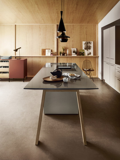 NX 510 Sand grey matt velvet by next125 | Fitted kitchens