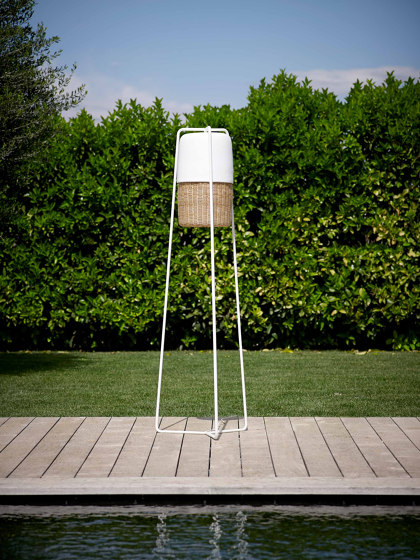 Milano Standing Lamp Weaved Iron by MARY& | Outdoor free-standing lights