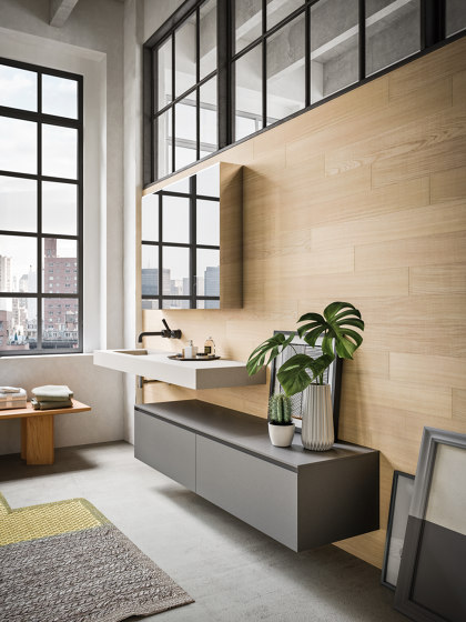 Bathroom project | L'essenziale New York by Itlas | Mirror cabinets