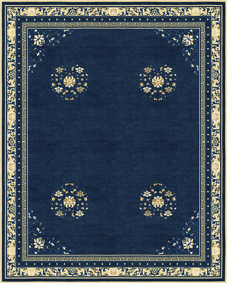 Chinoiserie | Floating Lotus River Blue by Tapis Rouge | Rugs