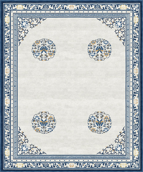 Chinoiserie | Floating Lotus Cloud Grey by Tapis Rouge | Rugs