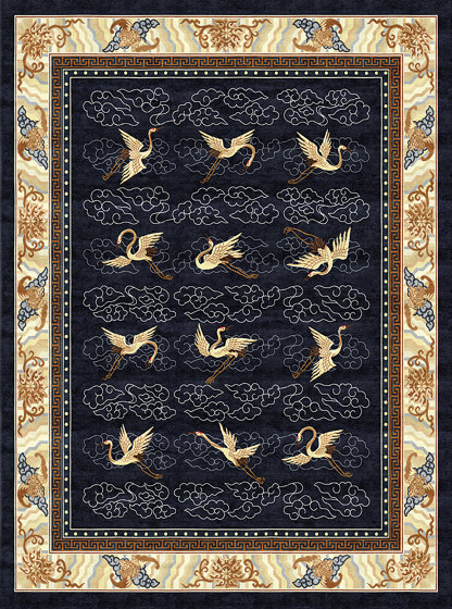 Chinoiserie | Manchurian Cranes Indigo by Tapis Rouge | Rugs