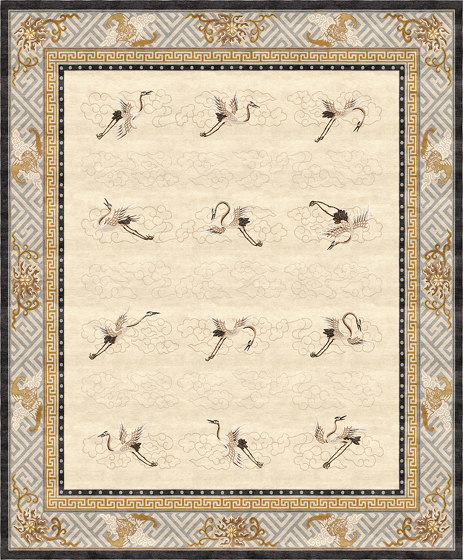 Chinoiserie | Manchurian Cranes Eggshell by Tapis Rouge | Rugs