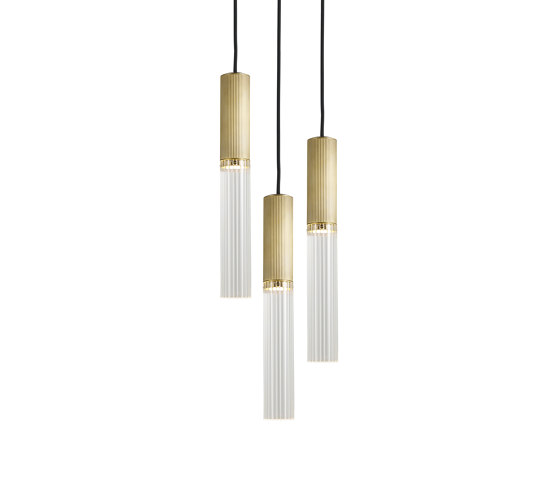 Flume | 50 Pendant - 3 Drop Grouping - Antique Brass by J. Adams & Co | Suspended lights