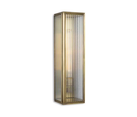 Lantern   Ash Wall Light - Large - Antique Brass & Clear Reeded Glass by J. Adams & Co   Wall lights