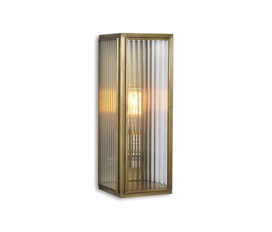 Lantern | Ash Wall Light - Medium - Antique Brass & Clear Reeded Glass by J. Adams & Co | Wall lights