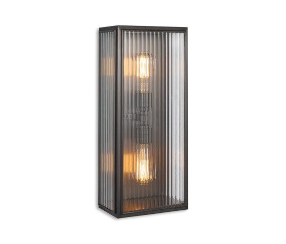 Lantern | Birch Wall Light - Large Twin Lamp - Bronze & Clear Reeded Glass by J. Adams & Co | Wall lights