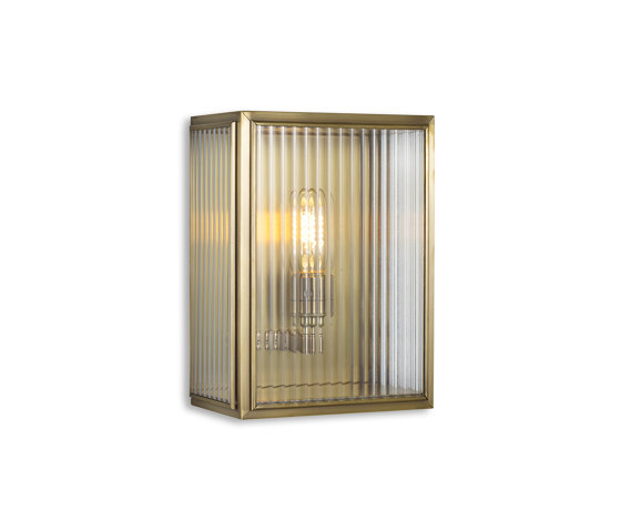 Lantern | Birch Wall Light - Small - Antique Brass & Clear Reeded Glass by J. Adams & Co | Wall lights