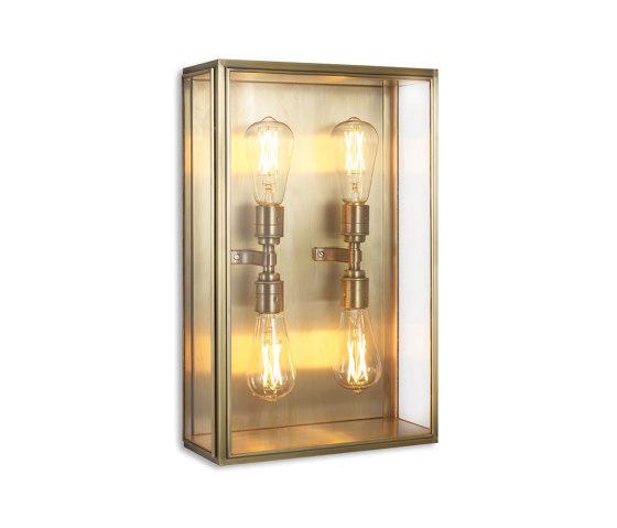 Lantern | Cedar Wall Light - Large Quad Lamp - Antique Brass & Clear Glass by J. Adams & Co | Wall lights