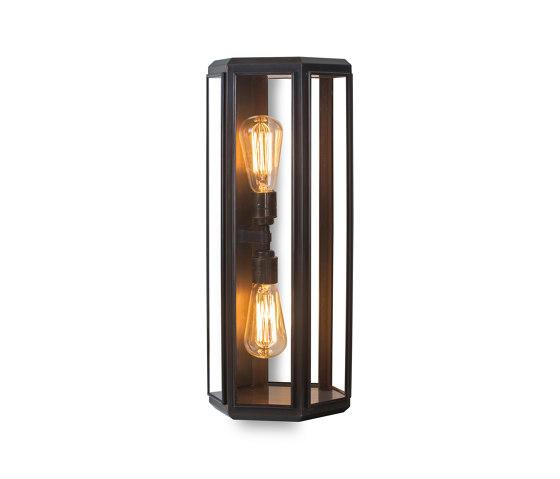 Lantern | Oak Hexagonal Wall Light - Bronze & Clear Glass by J. Adams & Co | Wall lights