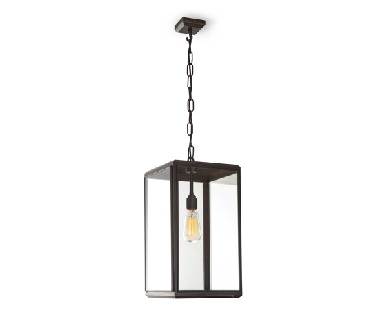 Lantern | Hazel Pendant Outdoor - Small - Bronze & Clear Glass by J. Adams & Co | Suspended lights
