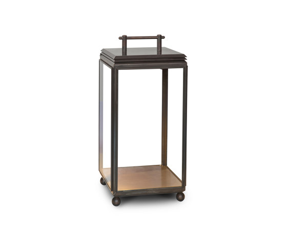 Lantern | Hazel Floor Light - Small, Battery powered - Bronze & Clear Glass by J. Adams & Co | Floor lights