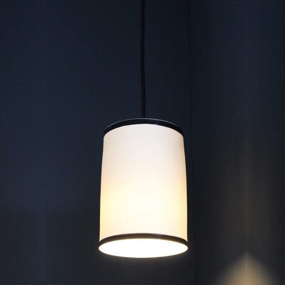 Bradwell Pendant Matte White with Black Stripe by Lyngard | Suspended lights