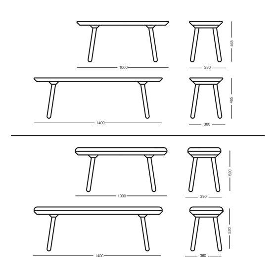 Naïve bench, 100 cm, black by EMKO | Benches