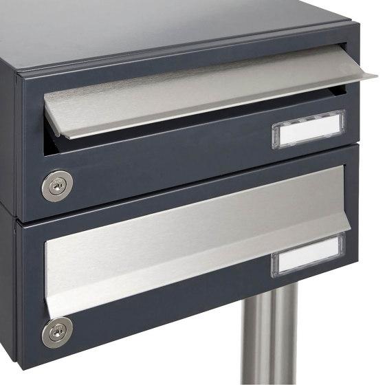 Basic | 10er 5x2 Aufputz Briefkastenanlage Design BASIC 385A AP - Edelstahl-RAL 7016 anthrazit by Briefkasten Manufaktur | Mailboxes