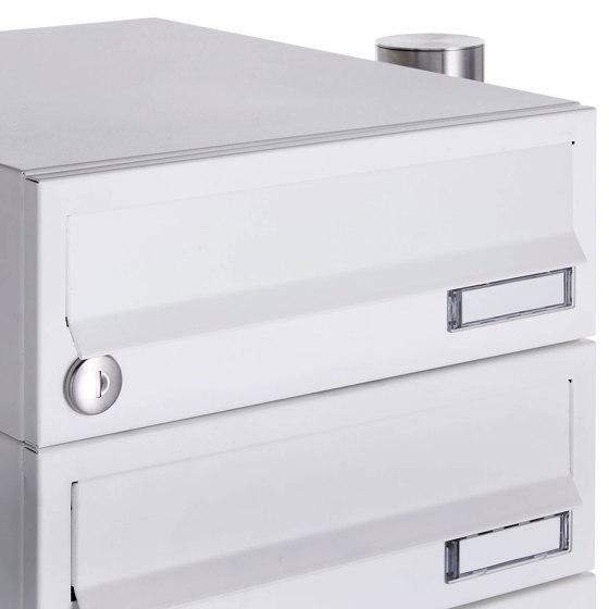 Basic | 10er 5x2 Briefkastenanlage freistehend Design BASIC 385-9016 ST-R - RAL 9016 verkehrsweiß by Briefkasten Manufaktur | Mailboxes