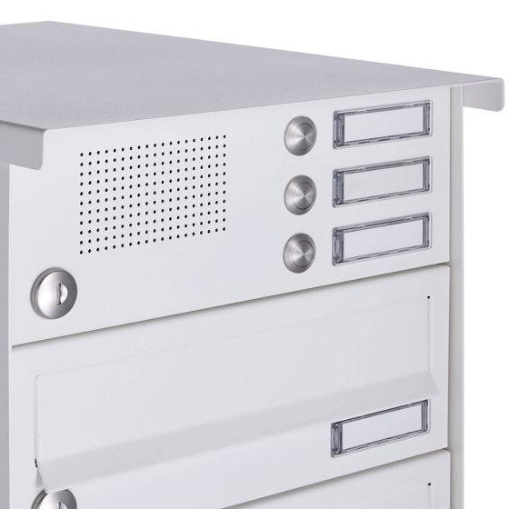 Basic | 10er Aufputz Briefkastenanlage Design BASIC 385A-9016 AP mit Klingelkasten - RAL 9016 verkehrsweiß Rechts by Briefkasten Manufaktur | Mailboxes