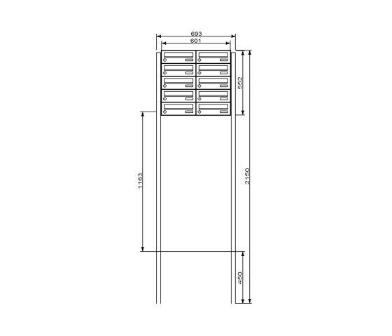 Basic | 10er Briefkastenanlage BASIC 531 freistehend - Kästen waagerecht - RAL nach Wahl 2,00m zum Einbetonieren by Briefkasten Manufaktur | Mailboxes