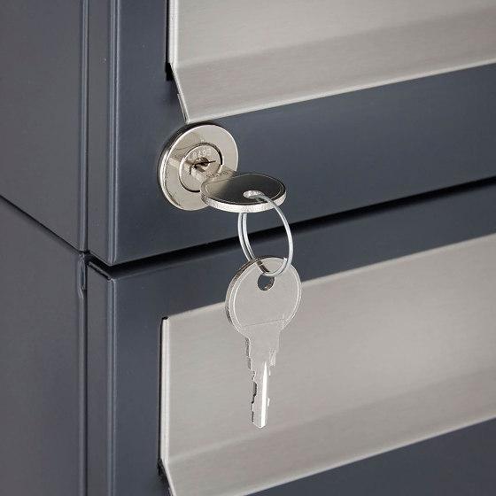 Basic | 10er Briefkastenanlage freistehend Design BASIC 385 ST-R - Edelstahl-RAL 7016 anthrazitgrau by Briefkasten Manufaktur | Mailboxes