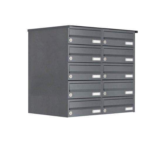 Basic | 10er Edelstahl Aufputz Briefkastenanlage Design BASIC Plus 385XA AP - RAL nach Wahl by Briefkasten Manufaktur | Mailboxes