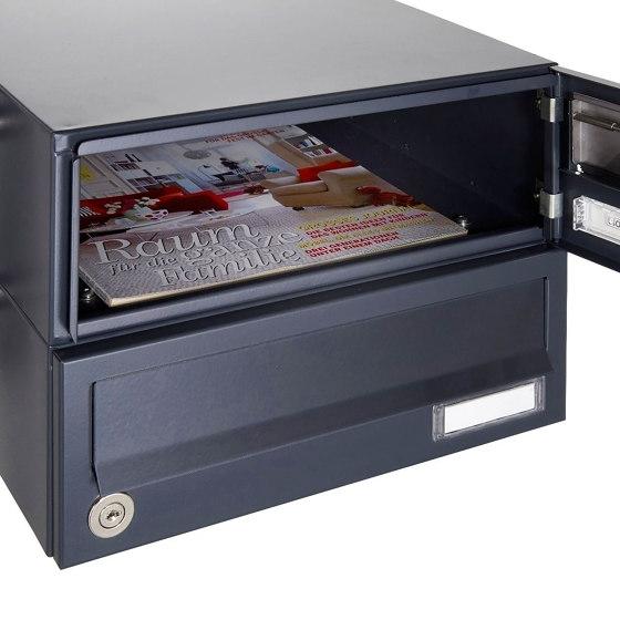 Basic | 10er Edelstahl Briefkastenanlage freistehend Design BASIC Plus 385XP ST-T - RAL nach Wahl by Briefkasten Manufaktur | Mailboxes