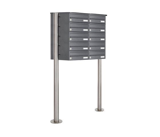 Basic   10er Edelstahl Standbriefkasten Design BASIC Plus 385 X ST R - RAL nach Wahl by Briefkasten Manufaktur   Mailboxes