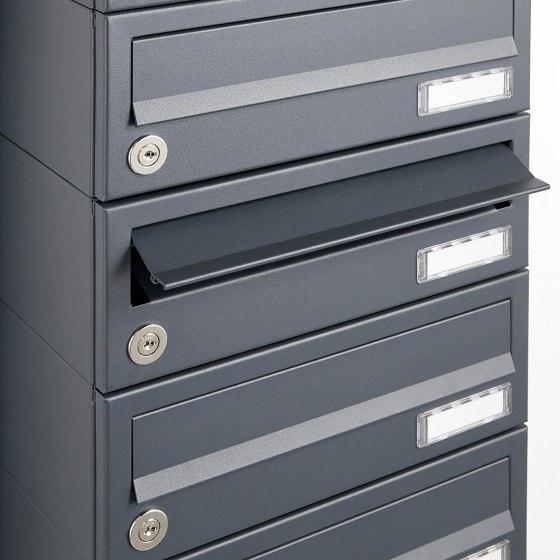 Basic | 10er Edelstahl Standbriefkasten Design BASIC Plus 385KX ST-R mit Klingel & Sprech-Kameravorbereitung Rechts by Briefkasten Manufaktur | Mailboxes