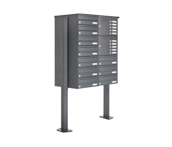 Basic | 10er Edelstahl Standbriefkasten Design BASIC Plus 385XP ST-T mit Klingelkasten - RAL nach Wahl Rechts by Briefkasten Manufaktur | Mailboxes
