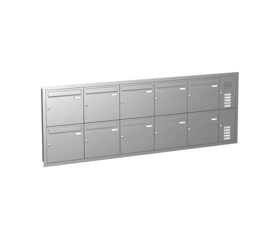 Basic   10er Edelstahl Unterputz Briefkastenanlage BASIC 534 UP SP- mit Klingelkasten Rechts by Briefkasten Manufaktur   Mailboxes