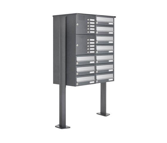 Basic | 10er Standbriefkasten Design BASIC 385P ST-T mit Klingelkasten - Edelstahl-RAL 7016 anthrazit Rechts by Briefkasten Manufaktur | Mailboxes
