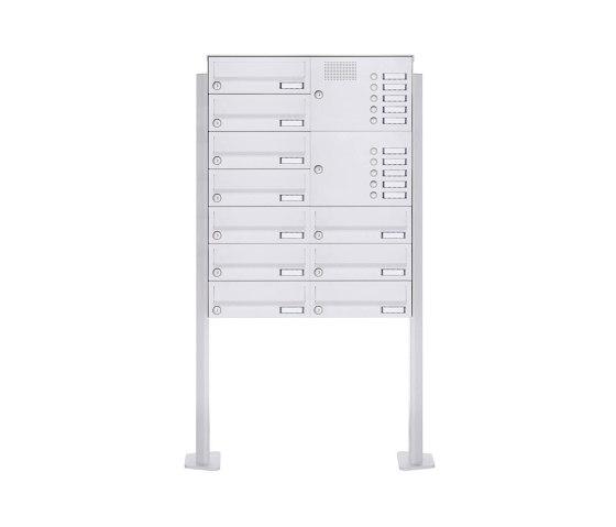 Basic | 10er Standbriefkasten Design BASIC 385P-9016 ST-T mit Klingelkasten - RAL 9016 verkehrsweiß Rechts by Briefkasten Manufaktur | Mailboxes