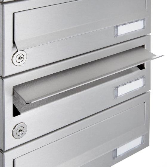 Basic | 11er Briefkastenanlage freistehend Design BASIC 385 ST-R - Edelstahl V2A, geschliffen by Briefkasten Manufaktur | Mailboxes