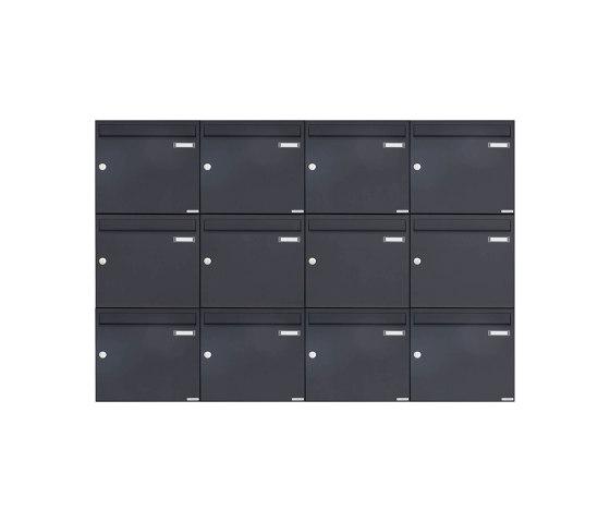 Basic | 12er 3x4 Aufputz Briefkasten Design BASIC 382A AP - RAL 7016 anthrazitgrau 100mm Tiefe by Briefkasten Manufaktur | Mailboxes