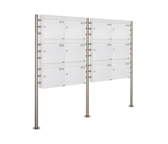 Basic | 12er 3x4 Briefkastenanlage freistehend Design BASIC 381 ST-R - RAL 9016 verkehrsweiß 100mm Tiefe by Briefkasten Manufaktur | Mailboxes