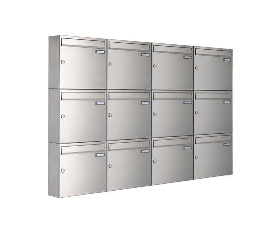 Basic | 12er 3x4 Edelstahl Aufputz Briefkastenanlage Design BASIC 382A-AP Edelstahl V2A, geschliffen 100mm Tiefe by Briefkasten Manufaktur | Mailboxes