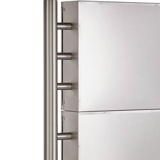 Basic   12er 3x4 Edelstahl Standbriefkasten Design BASIC 381 ST-R Edelstahl V2A, geschliffen 100mm Tiefe by Briefkasten Manufaktur   Mailboxes