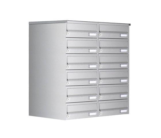Basic | 12er 6x2 Aufputz Briefkastenanlage Design BASIC 385A AP - Edelstahl V2A, geschliffen by Briefkasten Manufaktur | Mailboxes