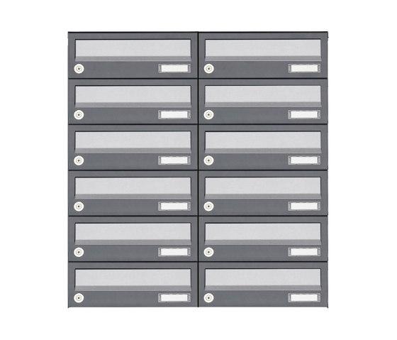 Basic | 12er 6x2 Aufputz Briefkastenanlage Design BASIC 385A AP - Edelstahl-RAL 7016 anthrazit by Briefkasten Manufaktur | Mailboxes