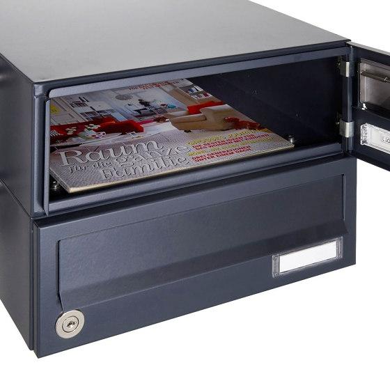 Basic   12er 6x2 Edelstahl Briefkastenanlage freistehend Design BASIC Plus 385XP ST-T - RAL nach Wahl by Briefkasten Manufaktur   Mailboxes