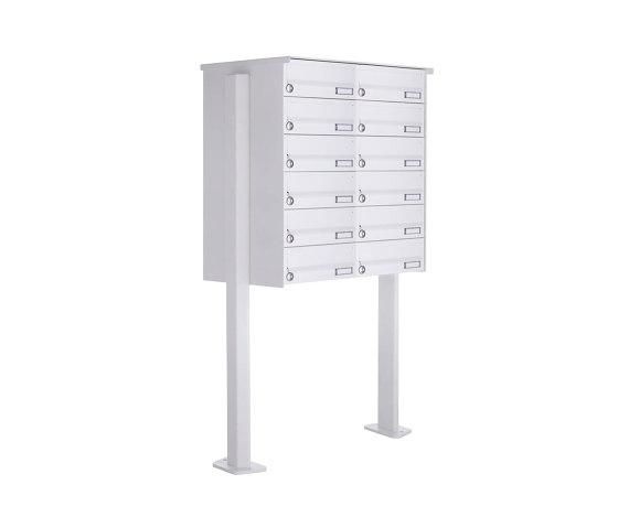 Basic   12er 6x2 Standbriefkasten Design BASIC 385P-9016 ST-T - RAL 9016 verkehrsweiß by Briefkasten Manufaktur   Mailboxes
