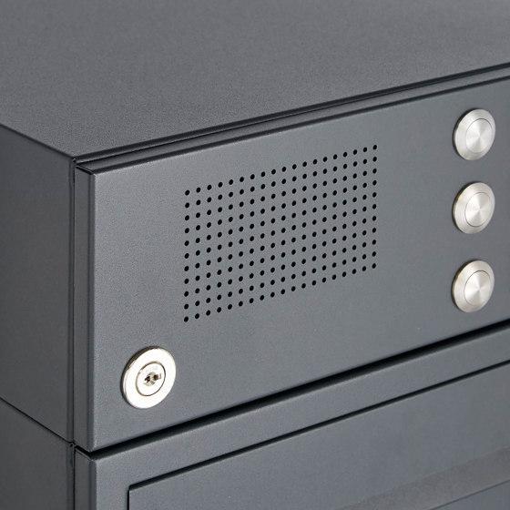 Basic | 12er 8x2 Standbriefkasten Design BASIC 385P-7016-SP mit Klingelkasten - RAL 7016 anthrazitgrau Rechts by Briefkasten Manufaktur | Mailboxes