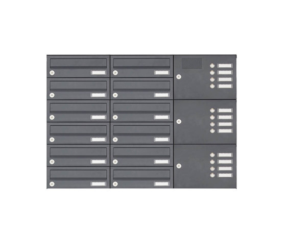 Basic | 12er Aufputz Briefkastenanlage Design BASIC 385A-7016 AP mit Klingelkasten - RAL 7016 anthrazitgrau Rechts by Briefkasten Manufaktur | Mailboxes