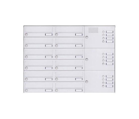 Basic | 12er Aufputz Briefkastenanlage Design BASIC 385A-9016 AP mit Klingelkasten - RAL 9016 verkehrsweiß Rechts by Briefkasten Manufaktur | Mailboxes