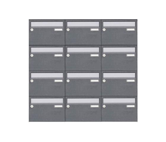 Basic | 12er Aufputz Briefkastenanlage Design BASIC Plus 385 XA 220 - Edelstahl - RAL nach Wahl by Briefkasten Manufaktur | Mailboxes
